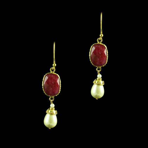 GOLD PLATED RUBY AND PEARL HANGING  EARRINGS