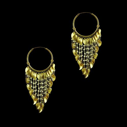 GOLD PLATED BALI EARRINGS WITH PEARL