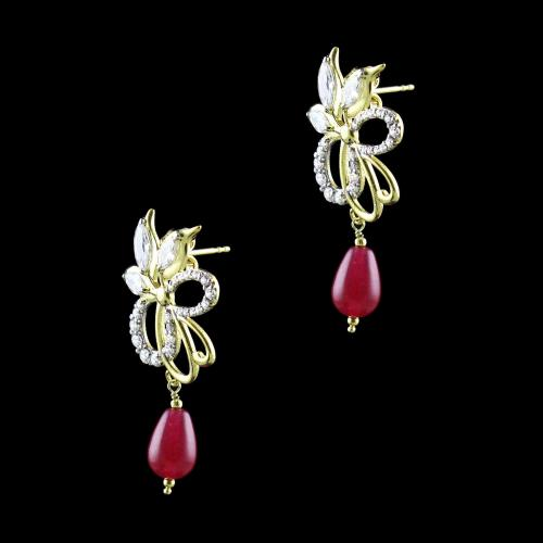 GOLD PLATED CZ WITH PEARL EARRINGS