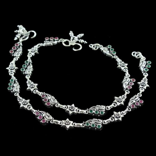 OXIDIZED SILVER GREEN HYDRO AND RED CORUNDUM ANKLET