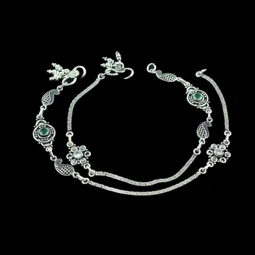 OXIDIZED SILVER CZ AND GREEN HYDRO ANKLETS