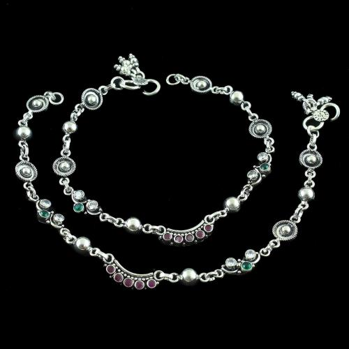 OXIDIZED SILVER CZ AND GREENHYDRO WITH RED CORUNDUM ANKLET