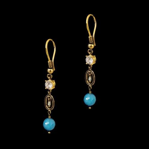 GOLD PLATED CZ AND TURQUORISE STONE HANGING EARRINGS