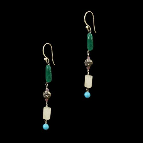 OXIDIZED SILVER LAKSHMI EARRINGS WITH  GREEN JASPER AND TURQUOISE