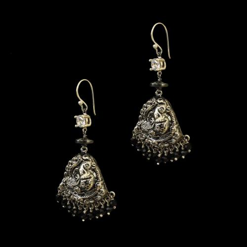 OXIDIZED SILVER HANGING EARRINGS WITH CZ