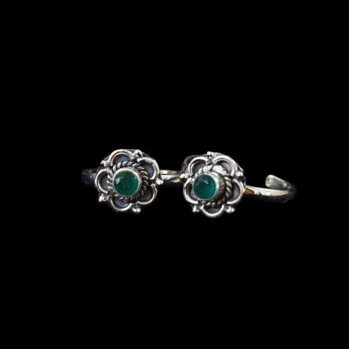 Silver Plated Fancy Design Zircon Stone Toe Rings