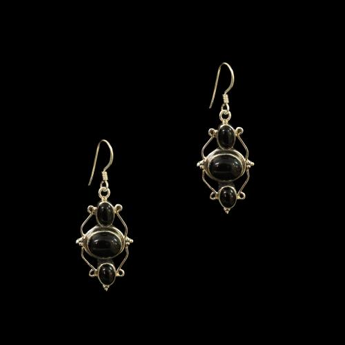 OXIDIZED SILVER BLACK OYNX HANGING EARRINGS