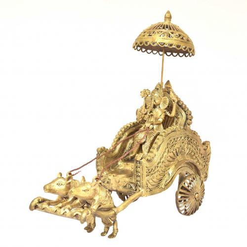 DHOKRA GANESHA IN RATH WITH MOUSE