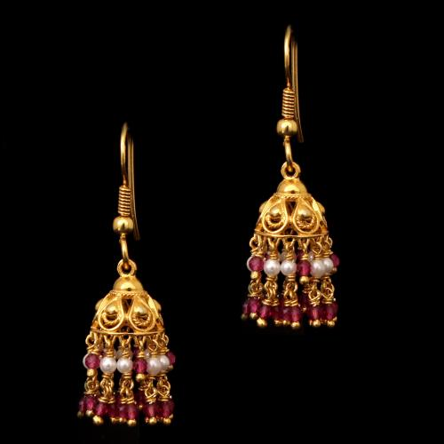 GOLD PLATED SHELL PEARL AND RED BEADS HANGING EARRINGS