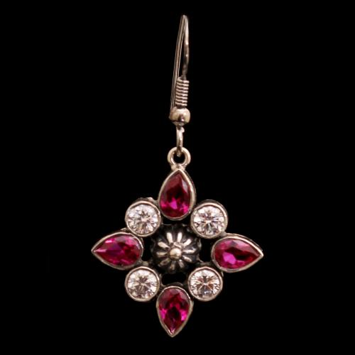 OXIDIZED SILVER CZ AND RUBY HANGING EARRINGS