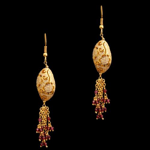 GOLD PLATED CZ AND GREEN BEADS HANGING EARRINGS