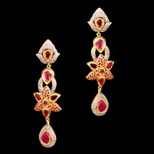 GOLD PLATED WHITE AND RED CZ DROPS EARRINGS