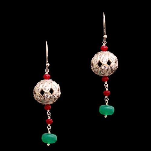 CZ WITH RED AND GREEN OYNX HANGING ERAAINGS