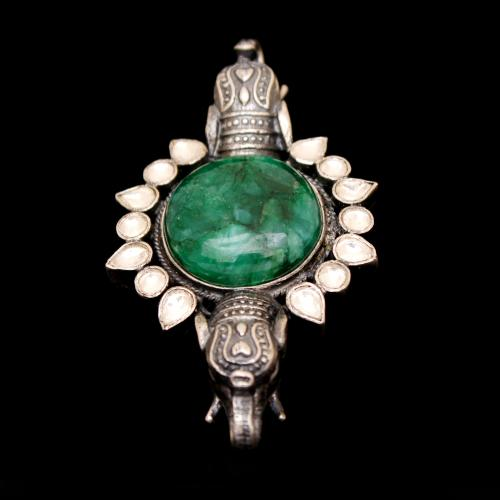KUNDAN AND MALACHITE ELEPHANT OXIDIZED RINGS