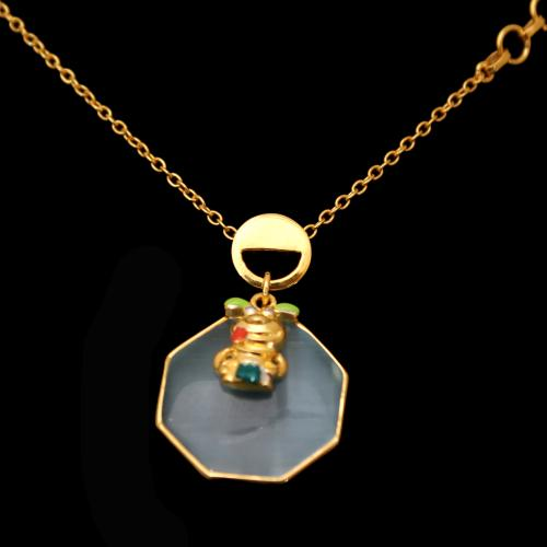 GOLD PLATED MONALISA STONE CHAIN