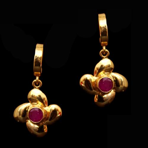 GOLD PLATED RED COURNDUM KOPPU EARRING