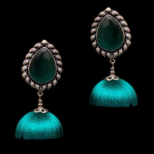 OXIDIZED SILVER MONALISA STONE THREAD JHUMKA EARRINGS