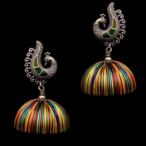 OXIDIZED SILVER PEACOCK THREAD JHUMKA EARRINGS