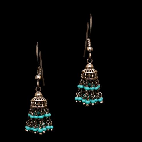 OXIDIZED SILVER RED GREEN HYDRO BEADS AND TURQUOISE HANGING JHUMKAS EARRING