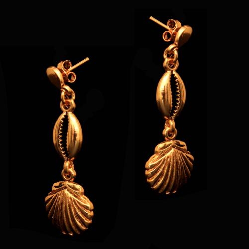 92.5 Sterling Silver Gold Plated Fancy Design Bali Earrings