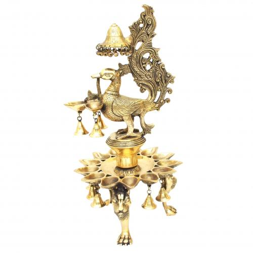 BRASS PEACOCK LAMP