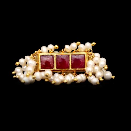 GOLD PLATED KUNDAN CHAND WITH PEARLS RINGS