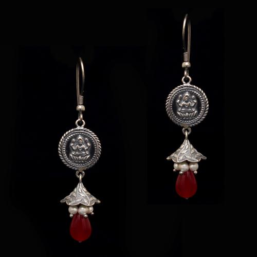 OXIDIZED SILVER LAKSHMI COIN HANGING JHUMKAS WITH PEARL AND RED CORUNDUM