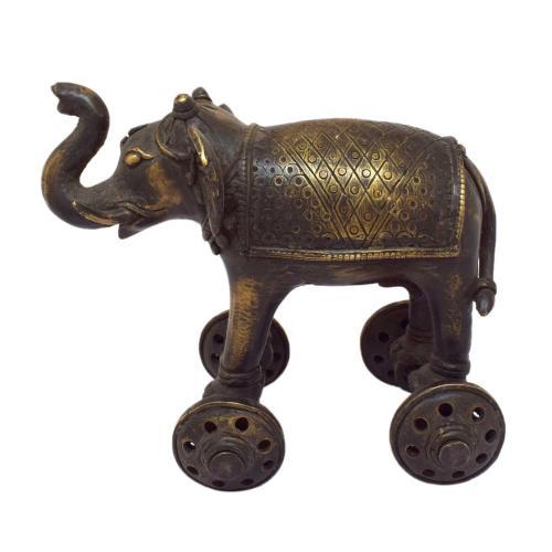 TIKAMGARH BRASS ELEPHANT 4 WHEELER