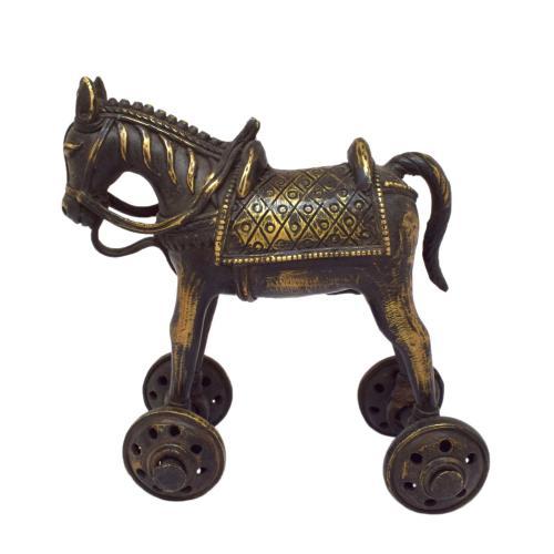 TIKAMGARH BRASS HORSE 4 WHEEL