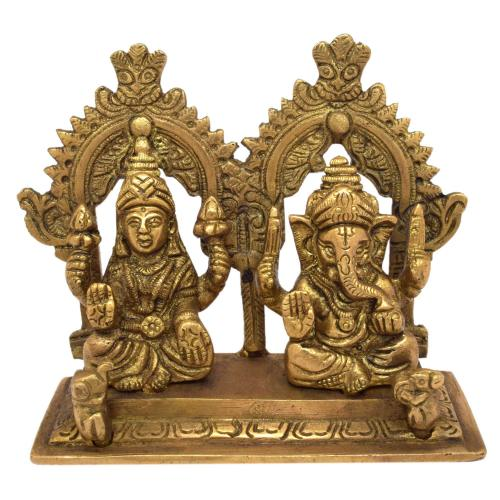 BRASS GANESHA WITH LAKSHMI