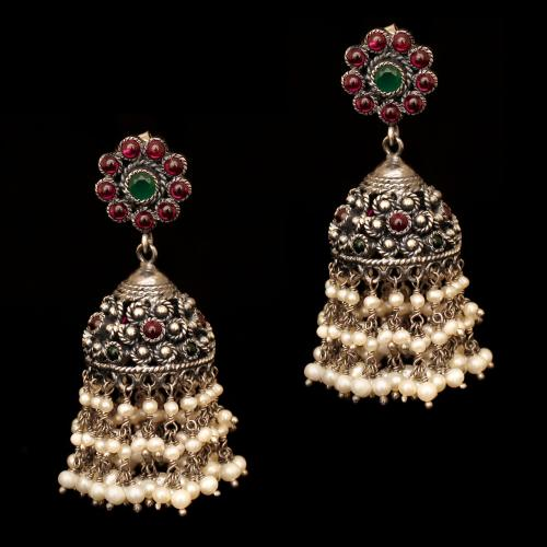 OXIDIZED SILVER JHUMKAS WITH RED CORUNDUM AND GREEN HYDRO WITH PEARL BEADS