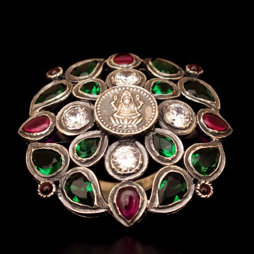 OXIDIZED SILVER LAKSHMI CZ AND RED CORUNDUM AND GREEN HYDRO RING