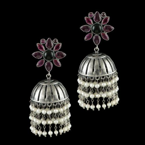OXIDIZED SILVER JHUMKA WITH PERALS RED AND GREEN ONYX STONES