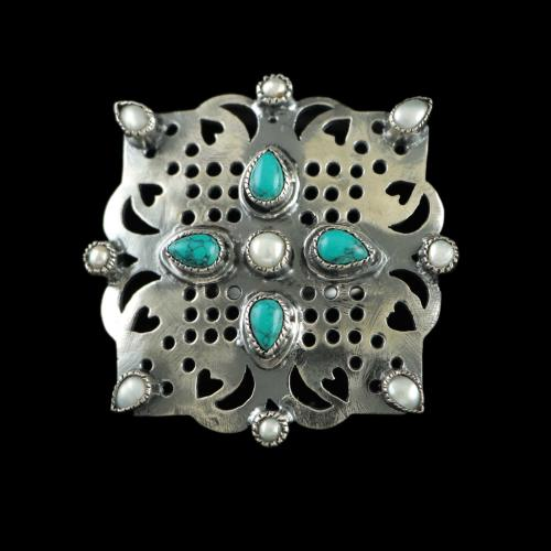 OXIDIZED SILVER PEAL AND TOURQUISE RINGS