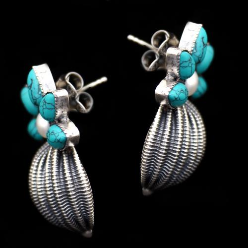 OXIDIZED SILVER TURQUOISE AND PEARL BEADS EARRINGS