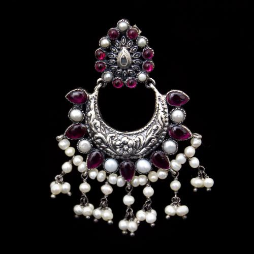 OXIDIZED SILVER RED CORUNDUM WITH PEARL BEADS EARRINGS