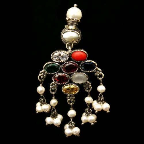 OXIDIZED SILVER NAVARATNA AND PEARL BEADS EARRINGS