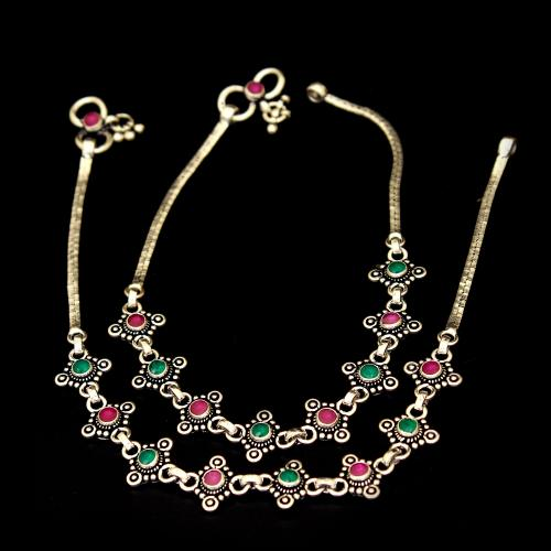 OXIDIZED SILVER RED AND GREEN CORUNDUM ANKLETS