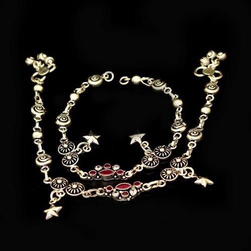OXIDIZED SILVER RED CORUNDUM AND CZ ANKLETS