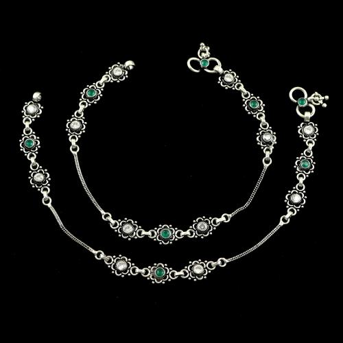 OXIDIZED SILVER GREEN CORUNDUM AND CZ ANKLETS