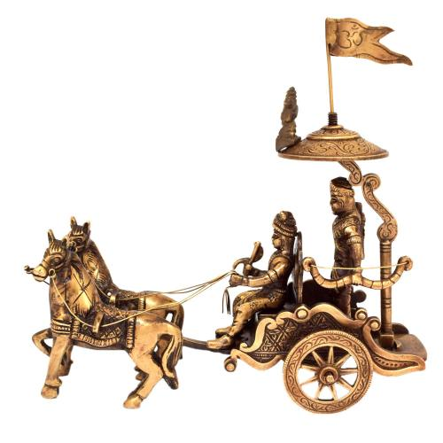 BRASS ARJUN RATH WITH HORSE