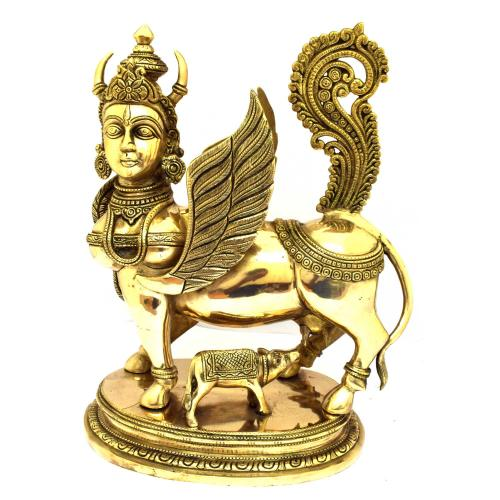 BRASS KAMADHENU STANDING WITH BASE