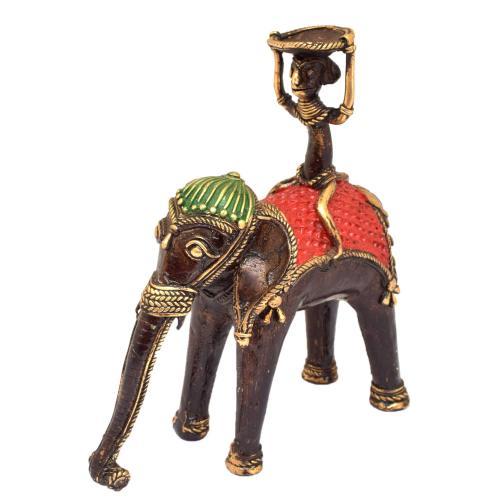 BASTAR MONKEY SITTING ON ELEPHANT WITH CANDLE STAND
