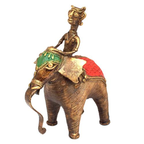 BASTAR ELEPHANT STANDING WITH MAN RIDER