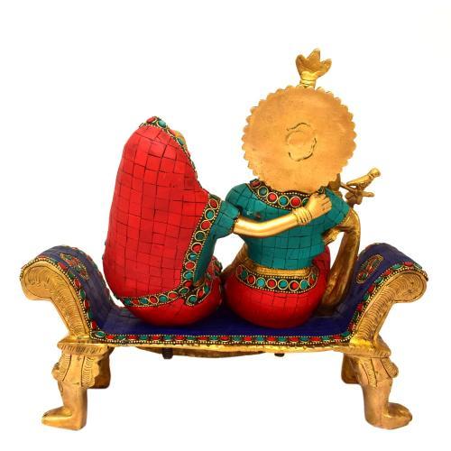 BRASS RADHA KRISHNA SITTING ON DIWAN