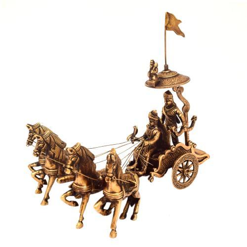 BRASS ARJUN RATH WITH 4 HORSE