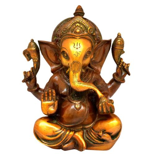 BRASS CROWN GANESHA COPPER FINISH