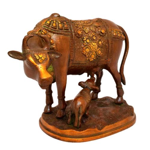 BRASS COW AND CALF COPPER FINISH