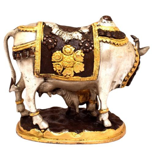 BRASS COW AND CALF SILVER FINISH