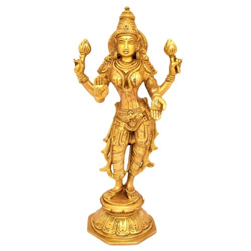 BRASS LAKSHMI STANDING ON BASE